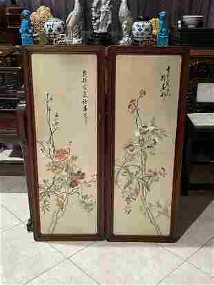 Pair of Framed Chinese Embroidery Panels