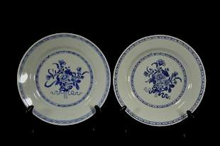 Pair Chinese Blue & White Porcelain Plates