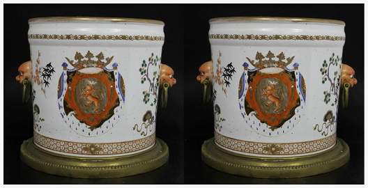 Pair of Large Chinese Exportware Cache Pots