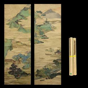 Qing Dynasty Pair Chinese landscape Scrolls