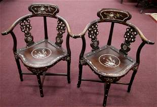 Pair of Rosewood Chairs W/ Mother of Pearl Inlay