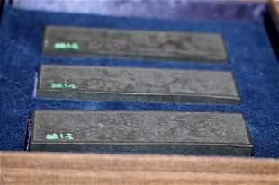 19 th C. Set of Three Rectangular Black Ink Cakes