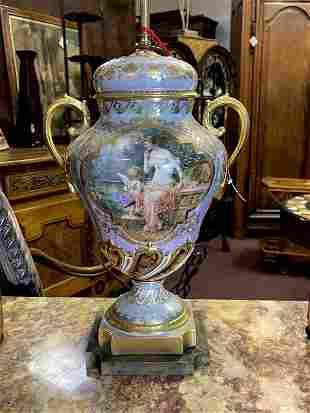 Antique French Porcelain Bronze Dore' Table Lamp