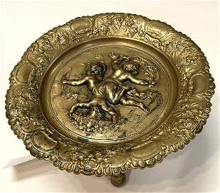 French High Relief Bronze Dore' compote