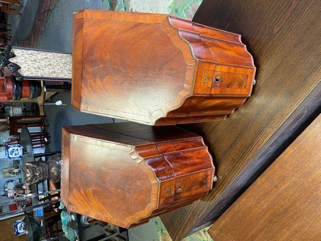 Antique Inlaid Mahog George III Cutlery Boxes