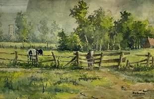 R.T. Carstens, American, 20th C. Watercolor