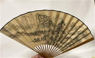 A Chinese Watercolor Painting and Calligraphy Fan