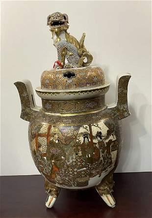 Large Royal Satsuma Incense Burner with Domed Lid