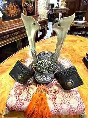 Fine Cast Bronze Scale Model of a Samurai Helmet