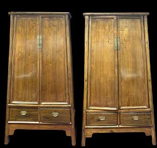 Pair of Ming style Huali wood Cabinets