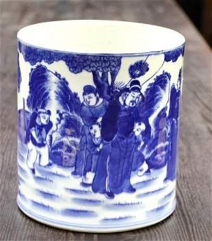 Old Chinese B&W Porcelain Brush Holder