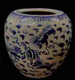 Large B&W Porcelain Planter