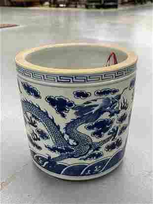Large Antique Chinese B&W Porcelain Brush Holder