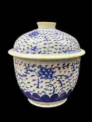 Chinese B&W Porcelain Bowl W/ Lid