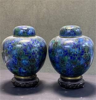 Pair of QING cloisonne Jars W/ Lids
