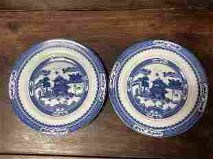 A Pair of Chinese Blue and White Porcelain Plates