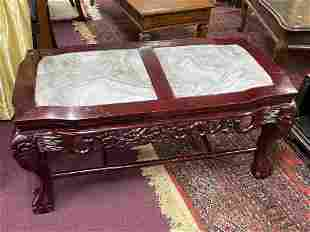 A Rosewood With Marble Coffee Table