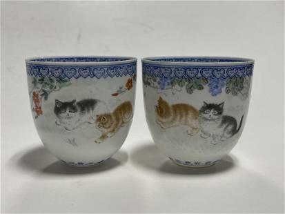 Pair of Porcelain Cups W/ Cat Paintings