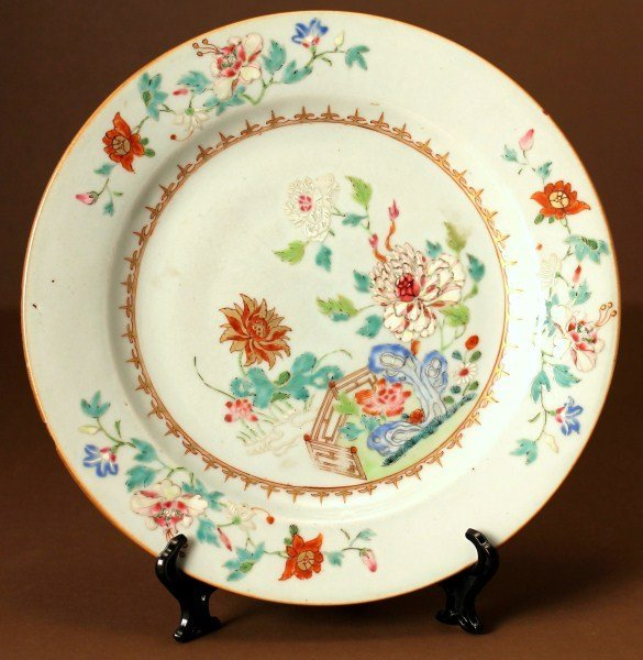 1: Famille Rose Export  Plate, Qing Dynasty