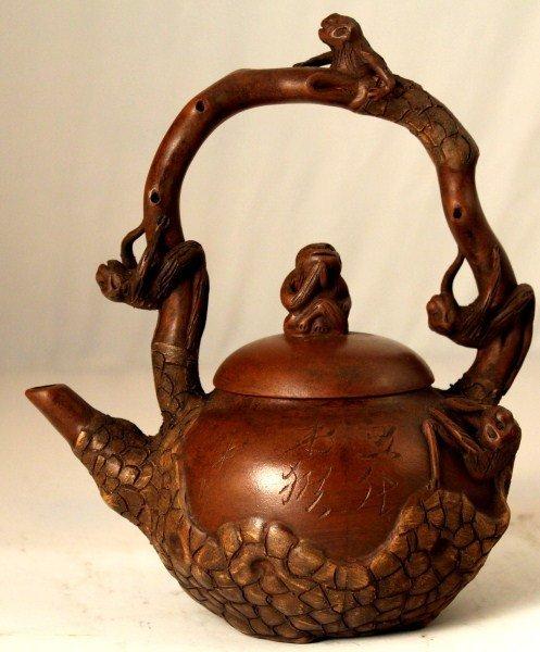 13: Yixing Teapot w/ Carved Handle & Monkeys