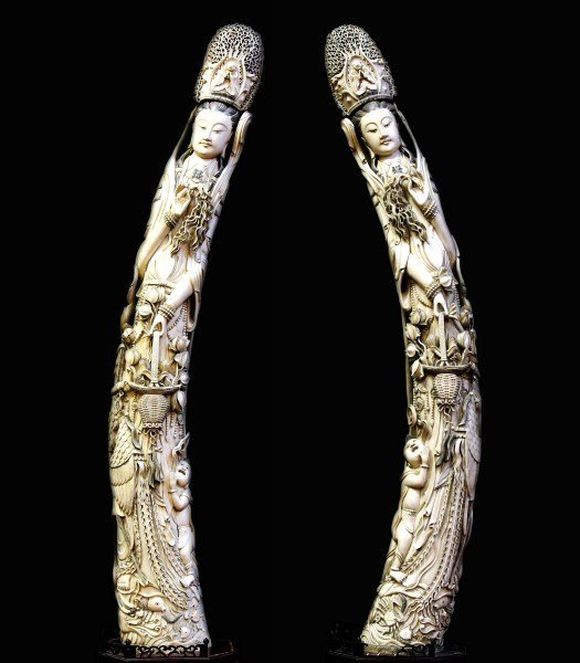 236: Pair of Very Highly Carved Ivory Tusks