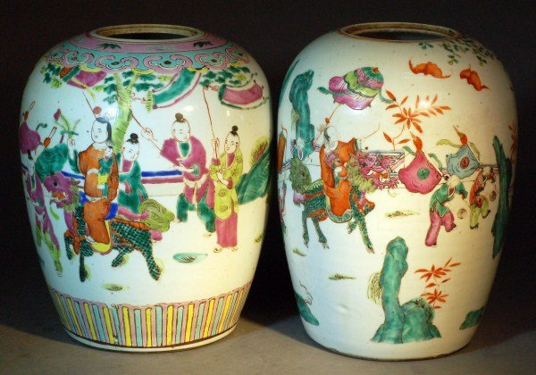 10: A Pair of  Chinese Qing  Porcelain Ginger Jars