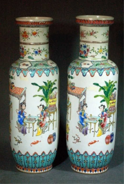 3: Pair of Famille-Rose Vases