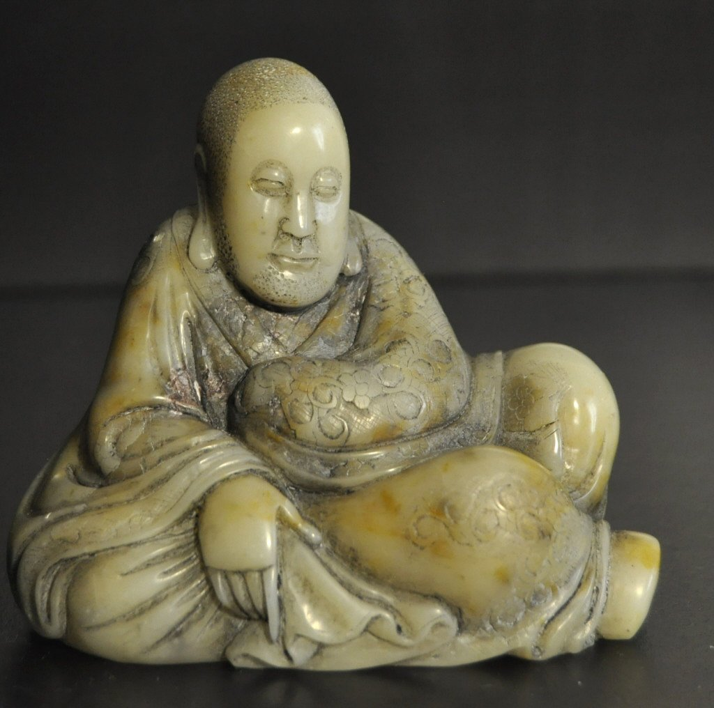 13: Chinese Shousan  Stone Carved Seated Man