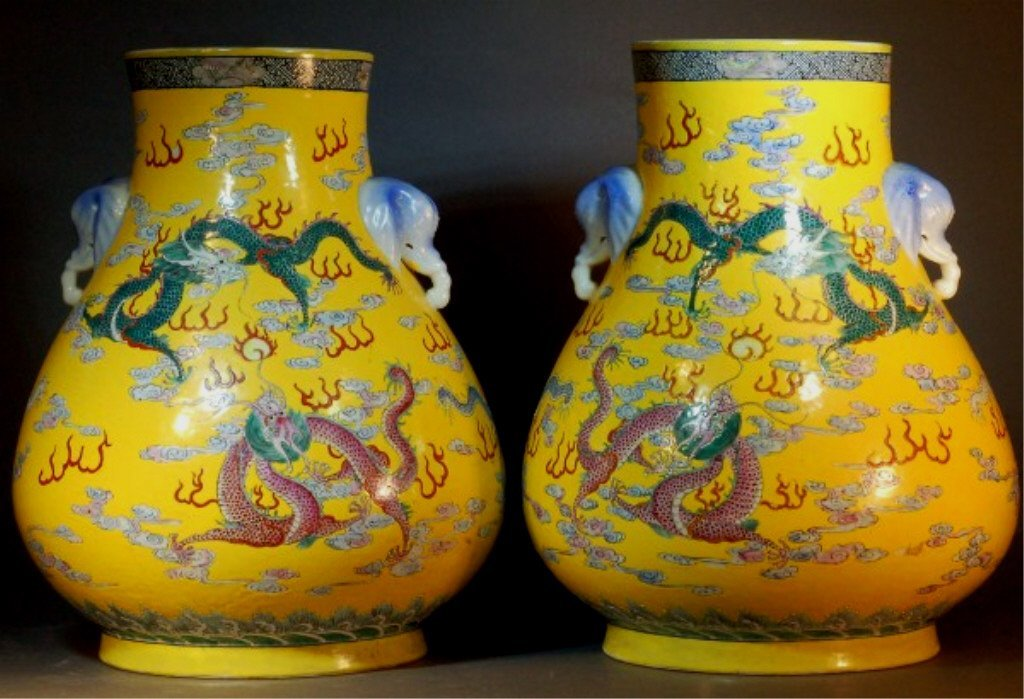 20: Pair of Chinese Yellow Ground Famille Rose Vases