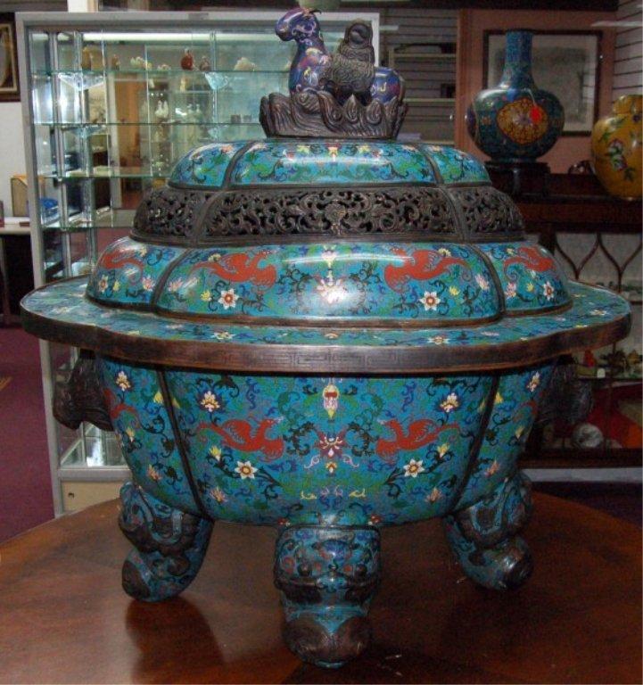 334: A Super Chinese Cloisonne  Bronze  Incense Burner