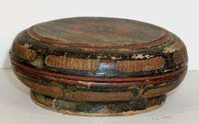 Antique Bamboo And Lacquer Food Container