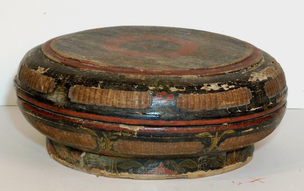 12: Antique Bamboo and Lacquer Food Container