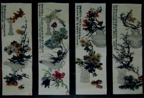 16: Set Of Four Chinese Paintings - Flowers