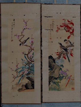 20: Set Of Two Chinese Paintings - Flower and Bird