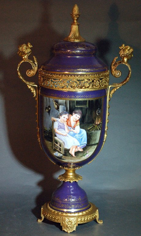 11: Large European Urn w/ Gilded Bronze