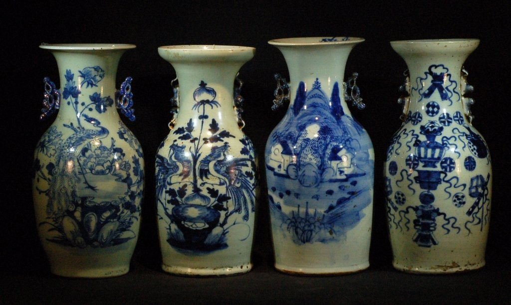 Lot of 4 Chinese Blue & White Vases