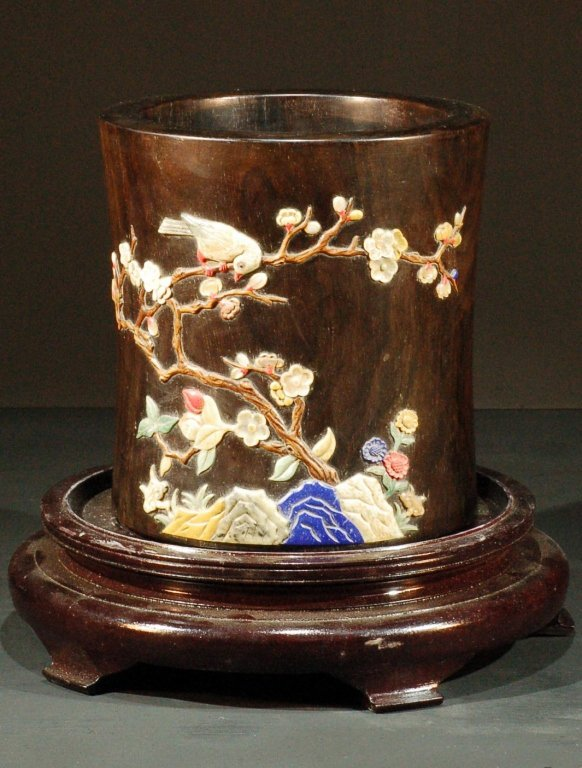 Chinese Padauk (Zitan Wood) Gem Inlaid Brushpot