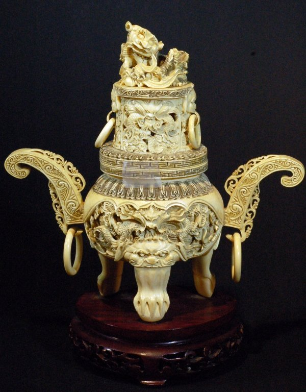 Highly Detailed Carved Ivory Censer