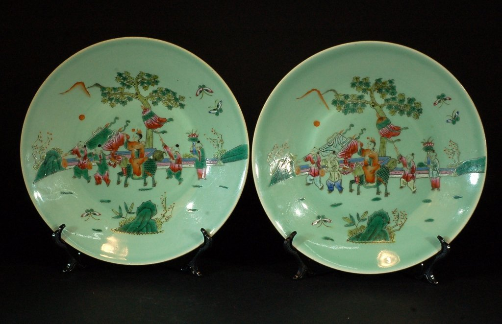 Pair of Chinese Celadon-glazed Famille Rose Plates