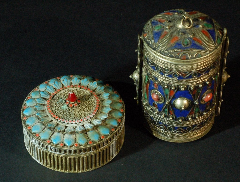 Lot of 2 Chinese Cloisonne Containers silver