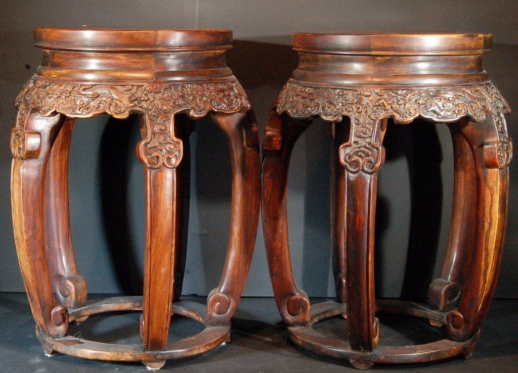 Pair of Chinese Carved Rosewood Stool
