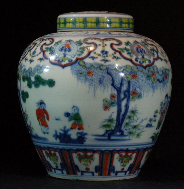 Chinese Famille Verte Lidded Jar