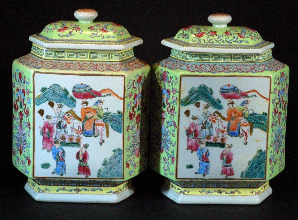 Pair of Famille Verte Lidded Jars