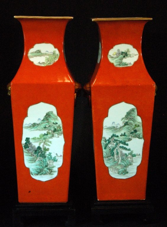 Pair of Chinese Coral-Red Glazed Vases