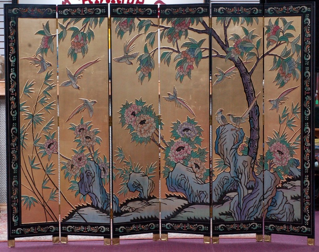 Six Panel Decorative Floor Screen