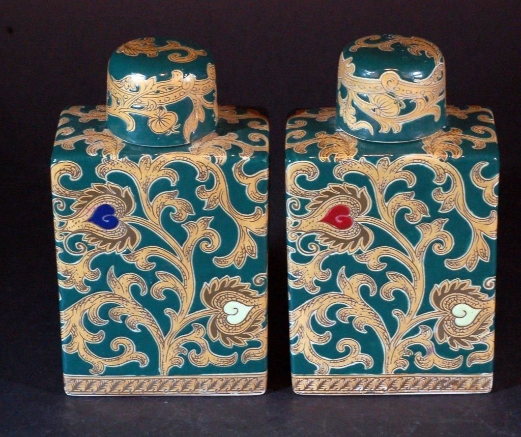 Pair of Lidded Green Glazed Pots