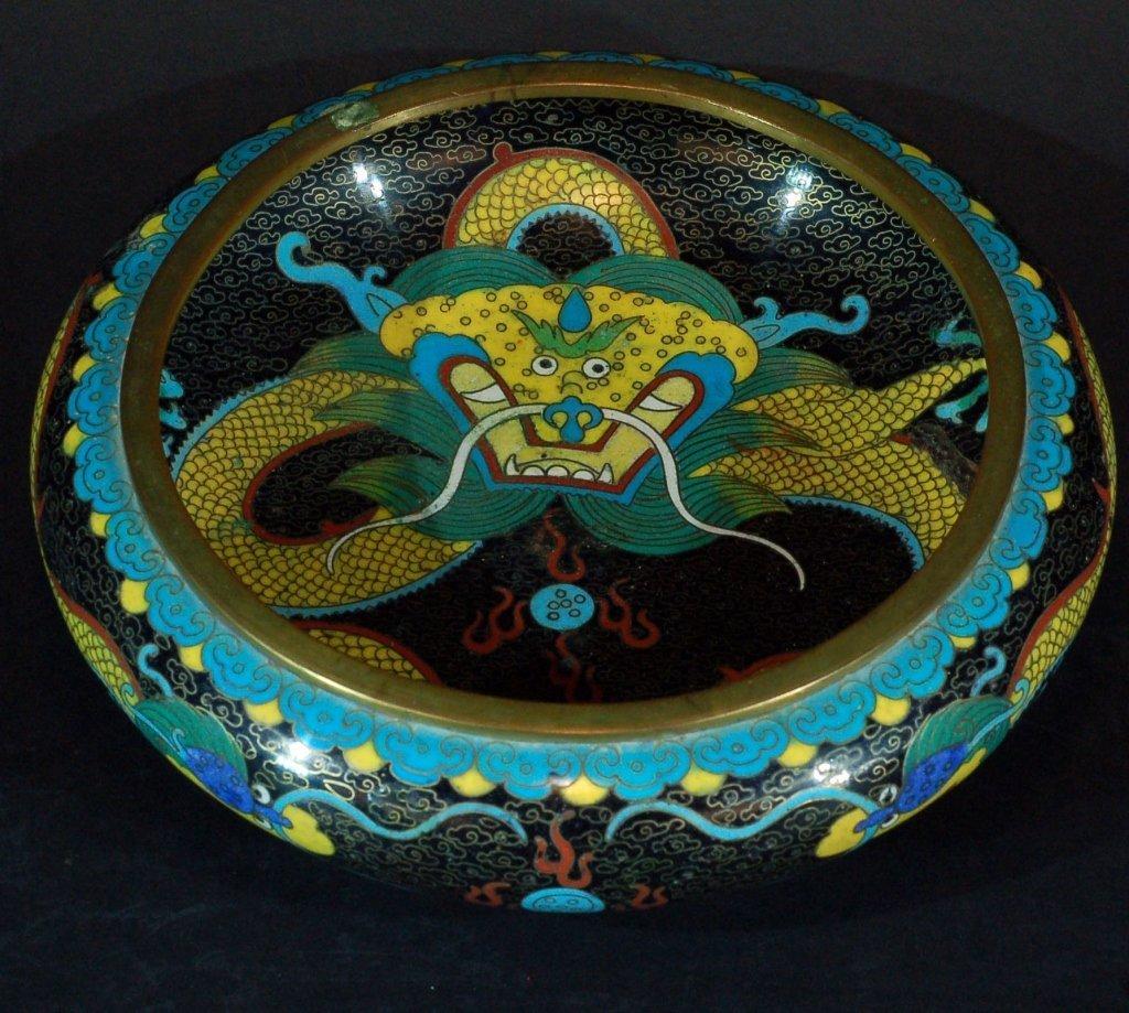 Chinese Cloisonne Brush Washer - Dragon