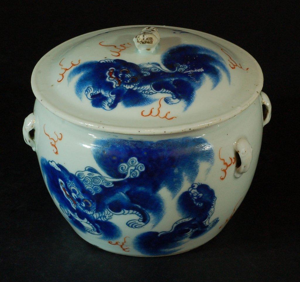 Chinese Blue & White Lidded Jars 1880s