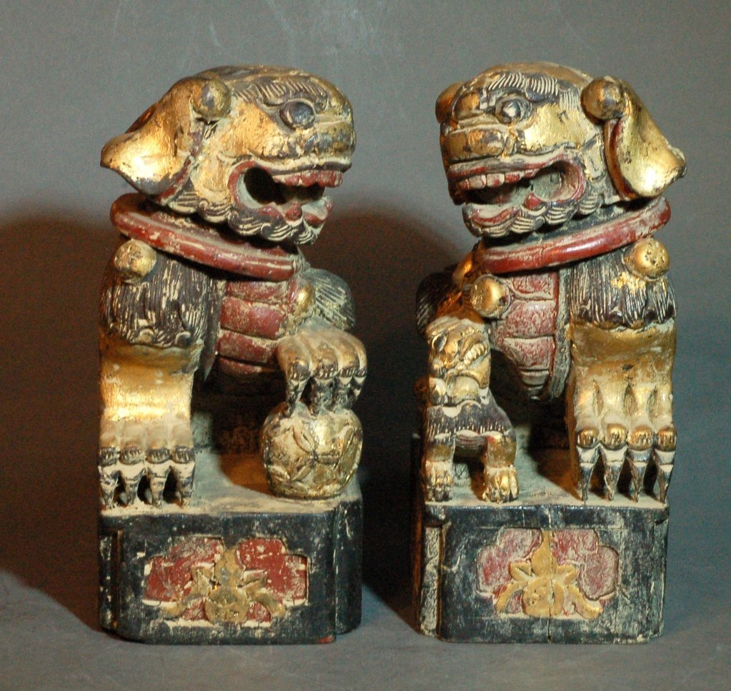Pair of Carved Wood Fu Lions
