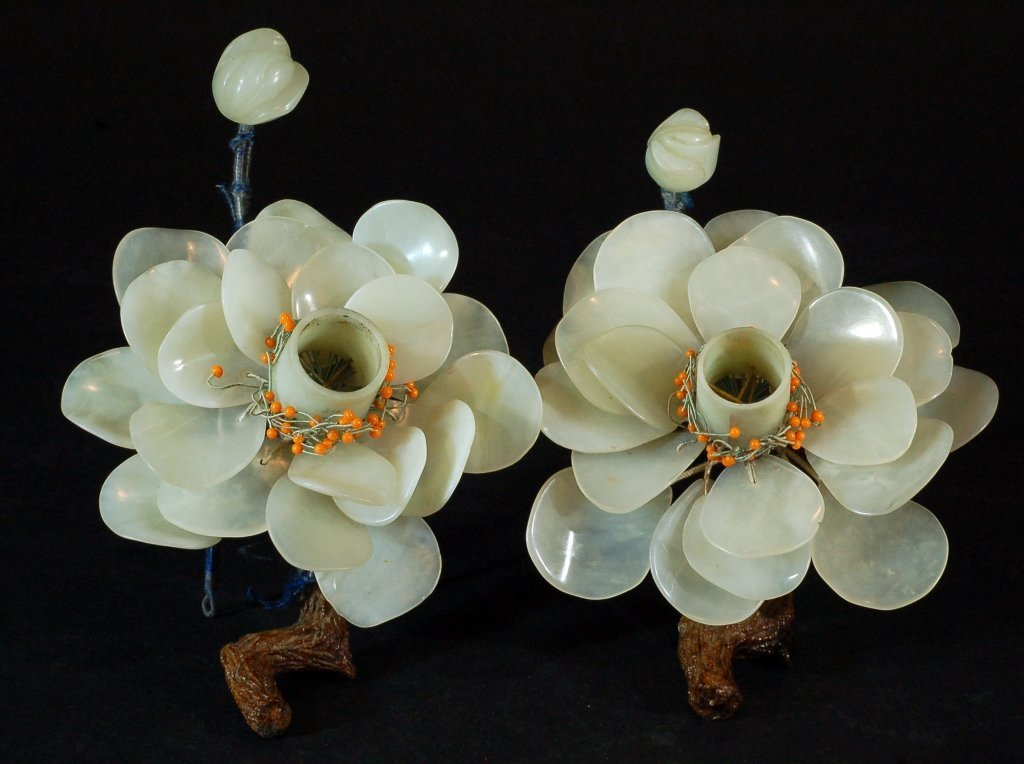 Pair of Jade/Stone Flower Ornaments